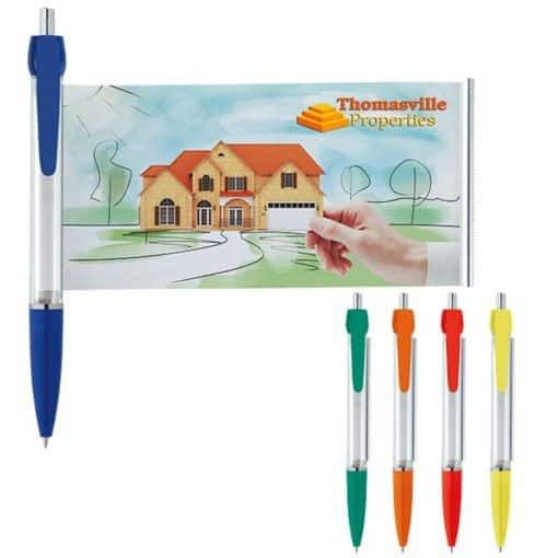 Banner Pen w/ Clear Barrel and Solid Colored Trim